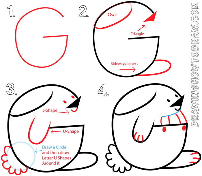 Easy to Draw Letter G Shaped Bunny Rabbits