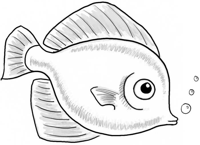 finished drawing of a cute fish cartoon