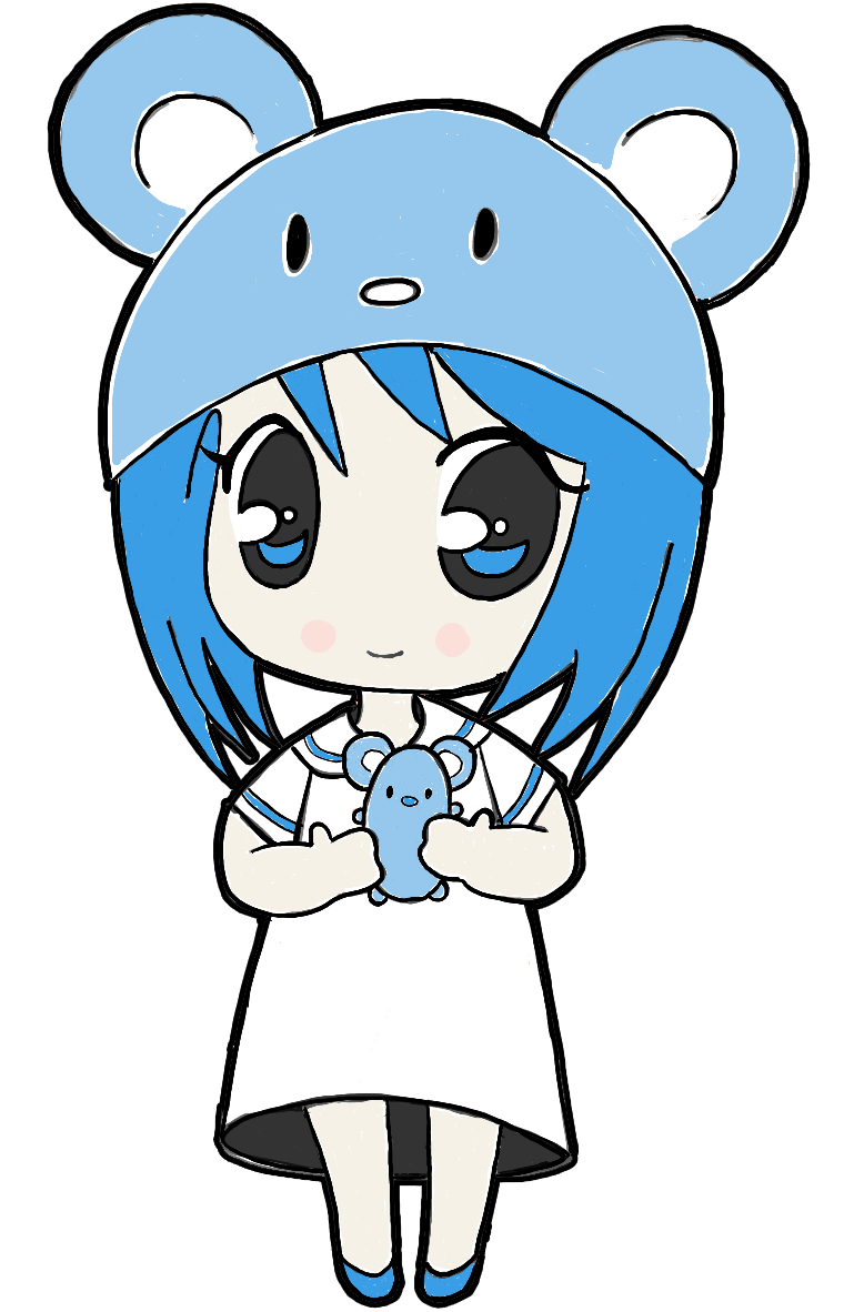 Finished Picture of Adorable Chibi Girl Holding a Mouse