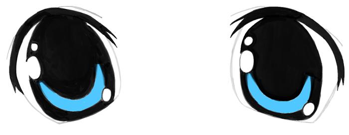 Finished Drawing of Manga Eyes