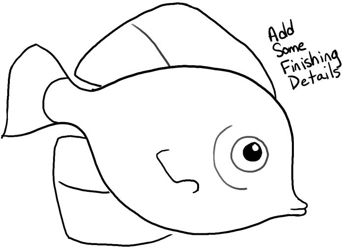 How to Draw a Cute Fish Cartoon with Simple Steps for Kids - How to ...