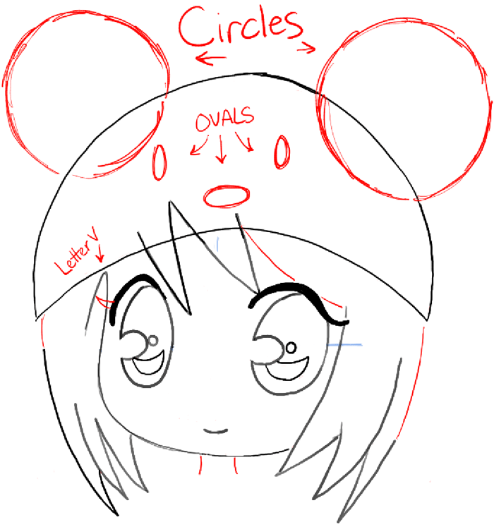 how to draw a chibi girl with cute mouse hat easy step by step