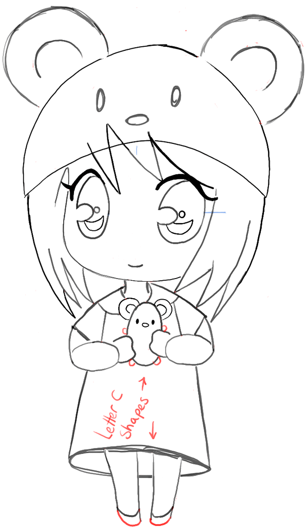 How to draw a chibi girl with cute mouse hat easy step by for How to draw a little girl easy