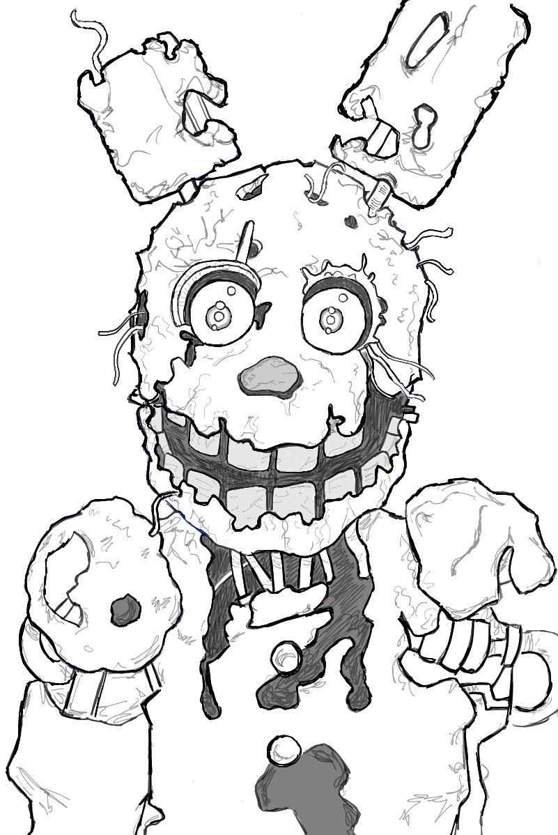 How to draw springtrap from five nights at freddy 39 s 3 step for Fnaf coloring pages springtrap