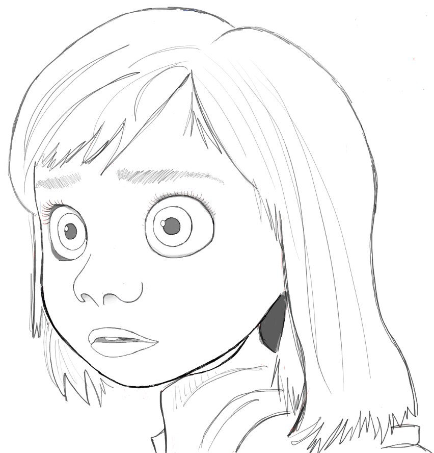 Finished Black and White Drawing of Riley from Inside Out