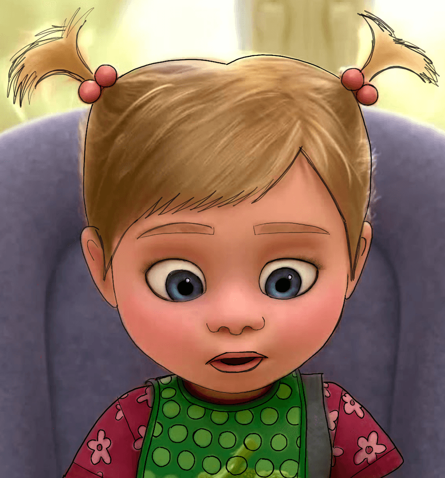 Finished Color Drawing of Baby Riley from Inside Out