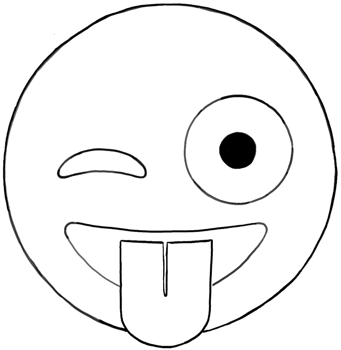 Line Drawing Happy Face : How to draw emojis winking with tongue out face drawing