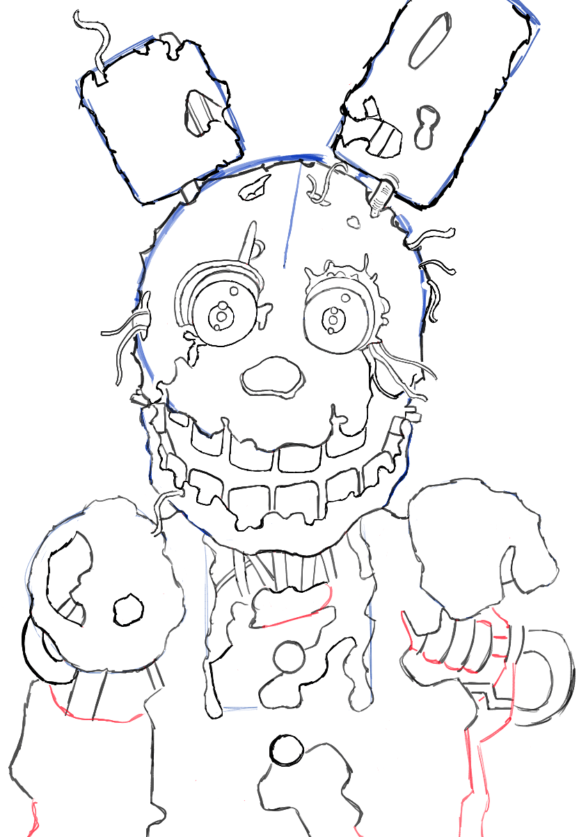 How to Draw Springtrap from Five Nights at Freddy's 3 Step ...