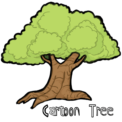 How to draw cartoon trees with simple steps lesson