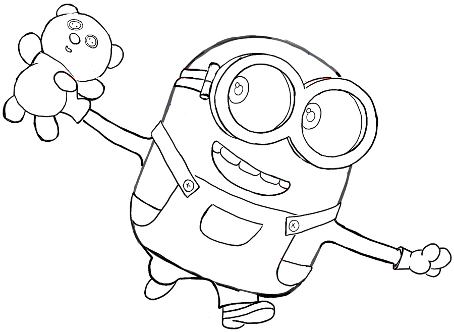 Finished Black and White Drawing of Bob with His Teddy Bear from The Minions Movie 2015 (And Despicable Me)