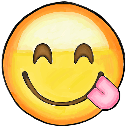 how to draw smiling emoji with tongue sticking out