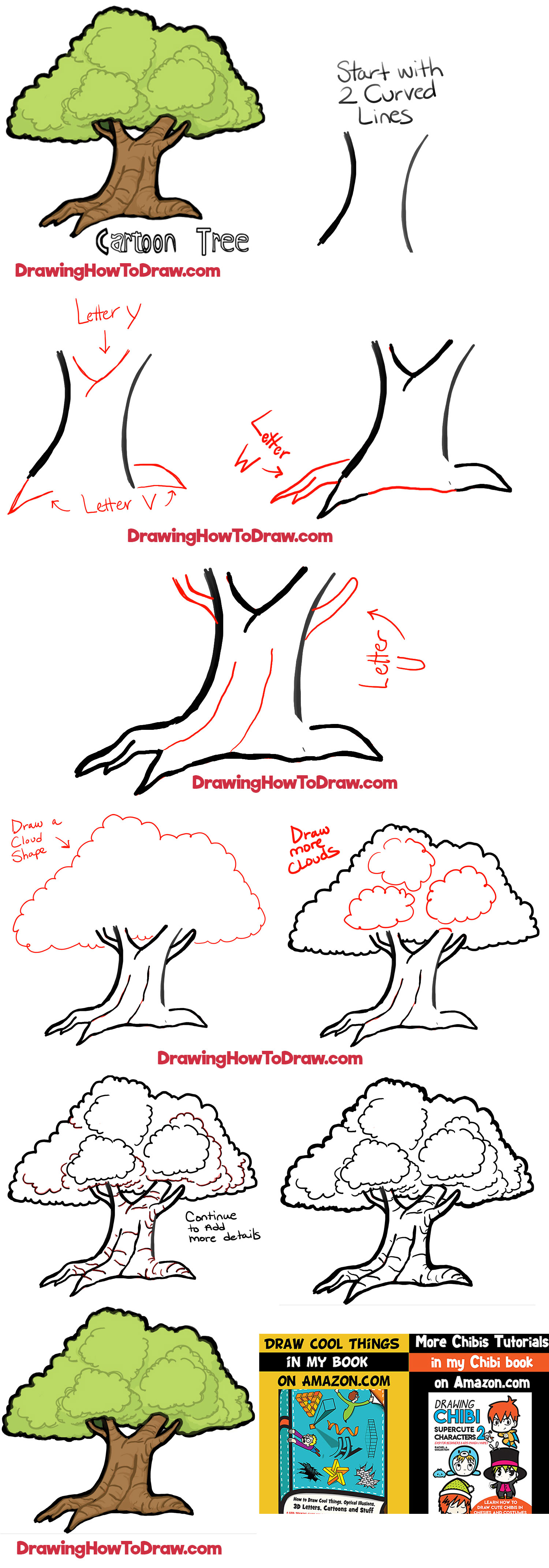 Step By Step Diagram Template: How To Draw Cartoon Trees With Easy Step By Step Drawing