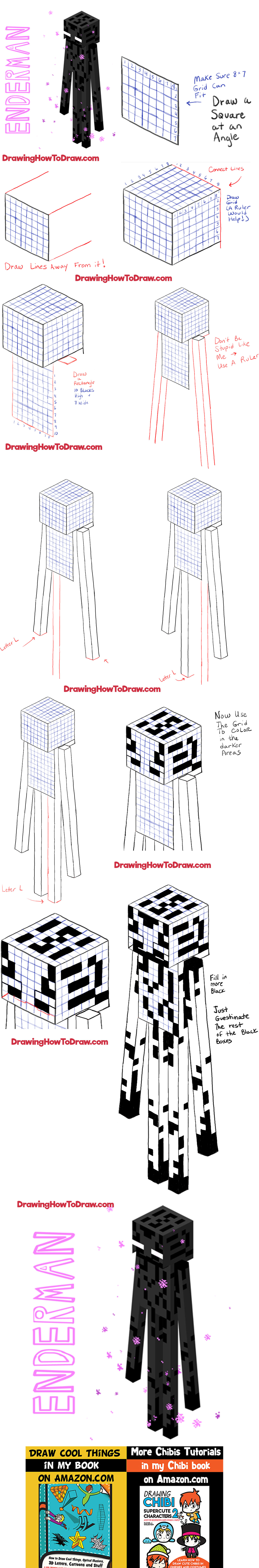 How to Draw Enderman from Minecraft Step by Step Drawing Lesson