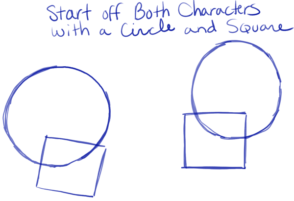 how to draw square jaw
