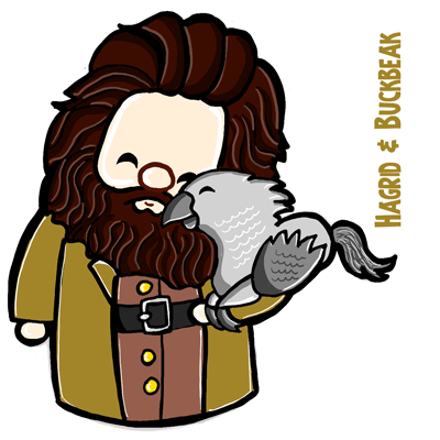 How to Draw a Cute Chibi Hagrid and Buckbeak from Harry Potter with Easy Steps Tutorial