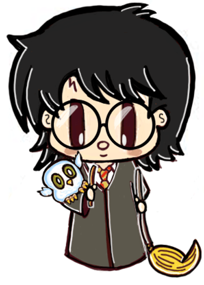 Finished Drawing of Cute Harry Potter and Hedwig Character