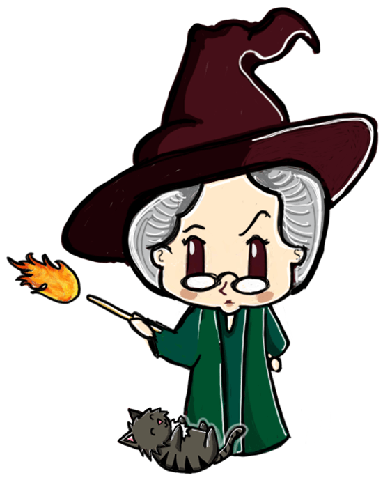 Finished Drawing of Cute Chibi Professor McGonagall and Cat