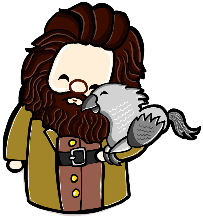 Finished Drawing of Cute Hagrid and Buckbeak