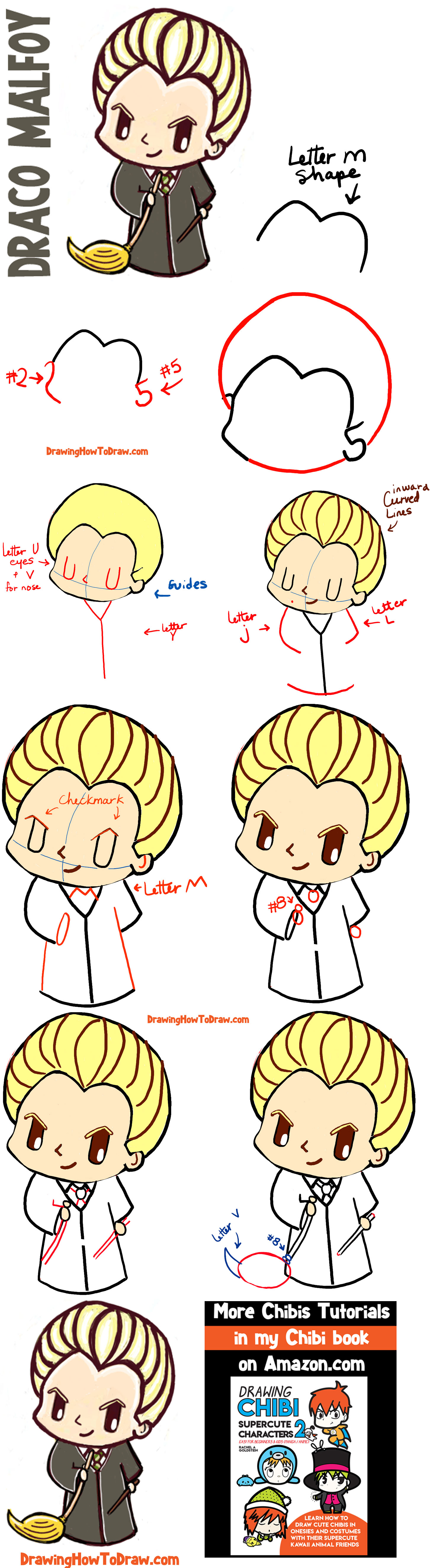 How To Draw Cute Chibi Draco Malfoy From Harry Potter With Easy