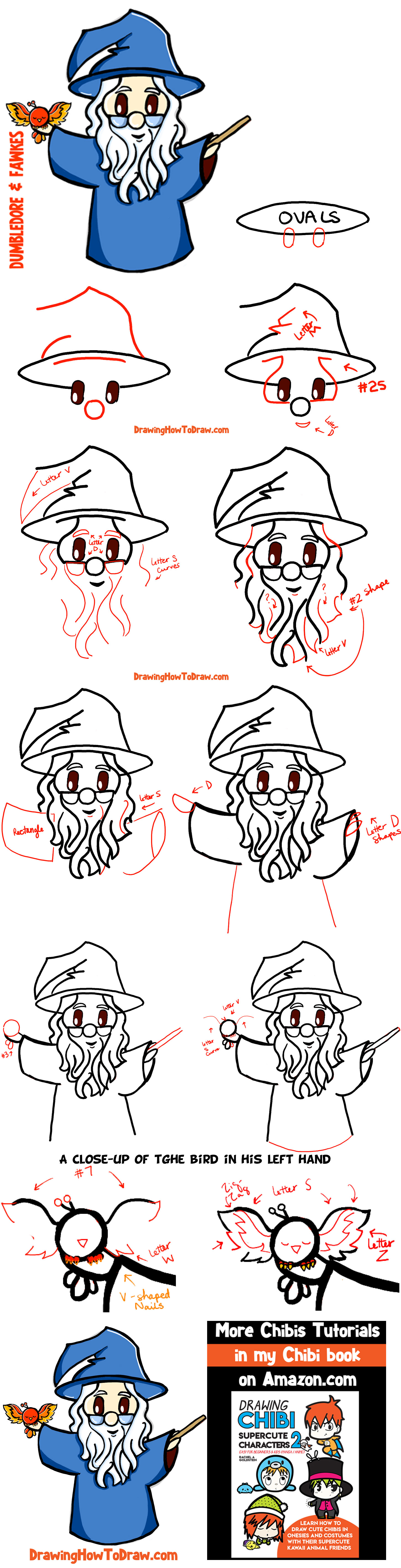 How to Draw Cute Chibi Dumbledore and Fawkes the Phoenix with Step by Step Drawing Tutorial