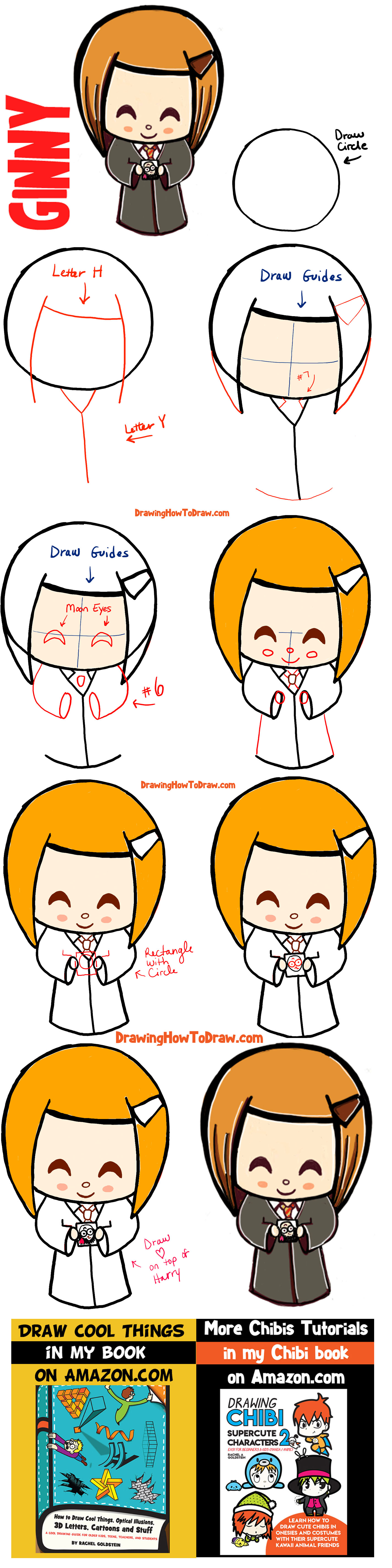 How to Draw a Cute Chibi Ginny Weasley with Easy Step by Step Drawing Tutorial