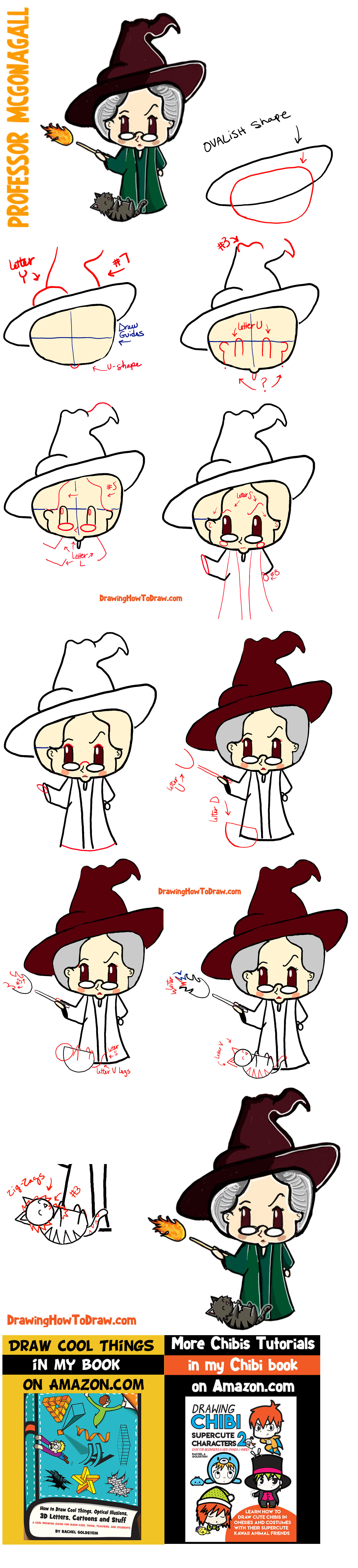How to Draw a Cute Chibi Professor McGonagall and Cat from Harry Potter