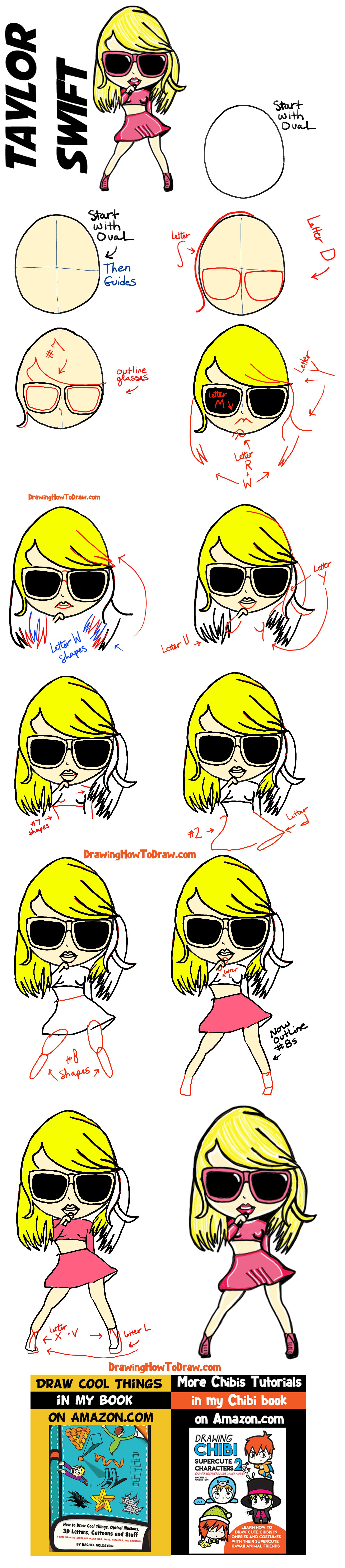 How to Draw Taylor Swift as Cute Cartoon Chibi Drawing