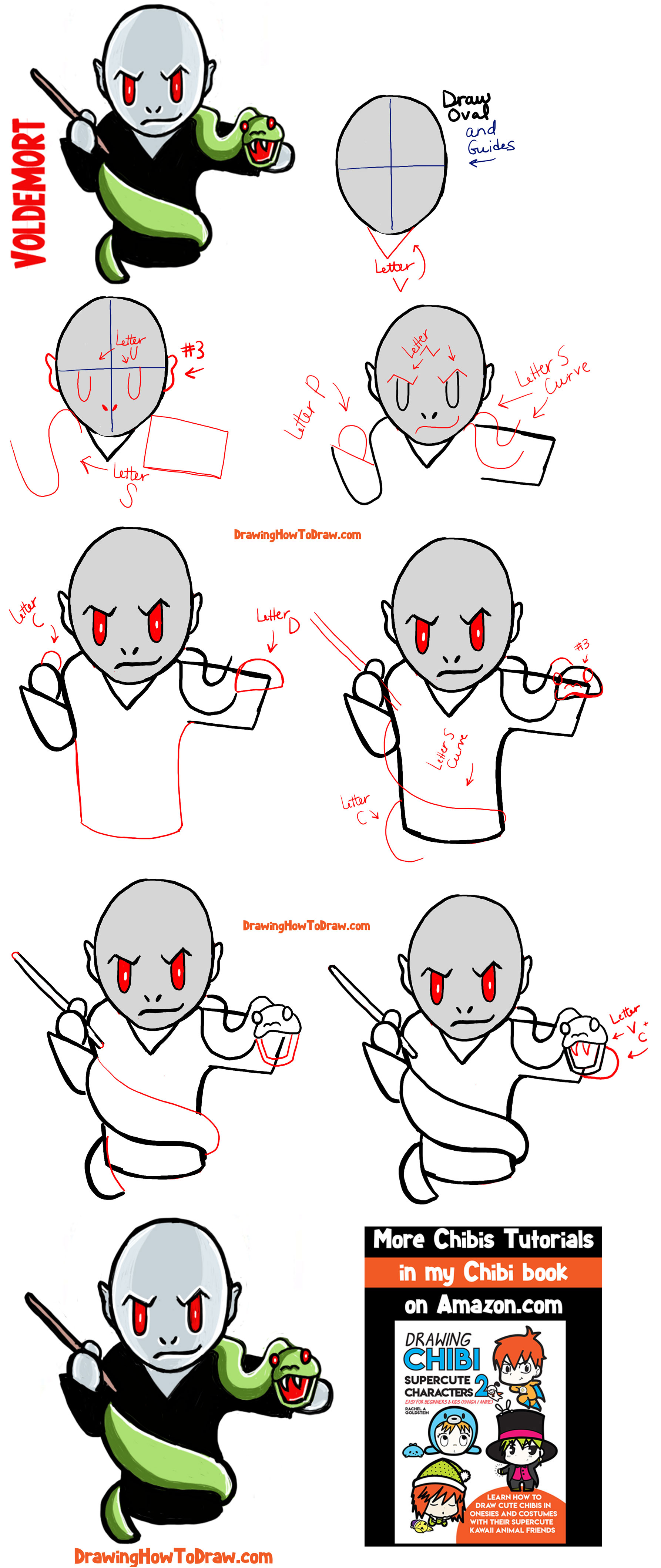 How to Draw Cute Chibi Voldemort from Harry Potter with Simple Easy Step by Step Drawing Tutorial