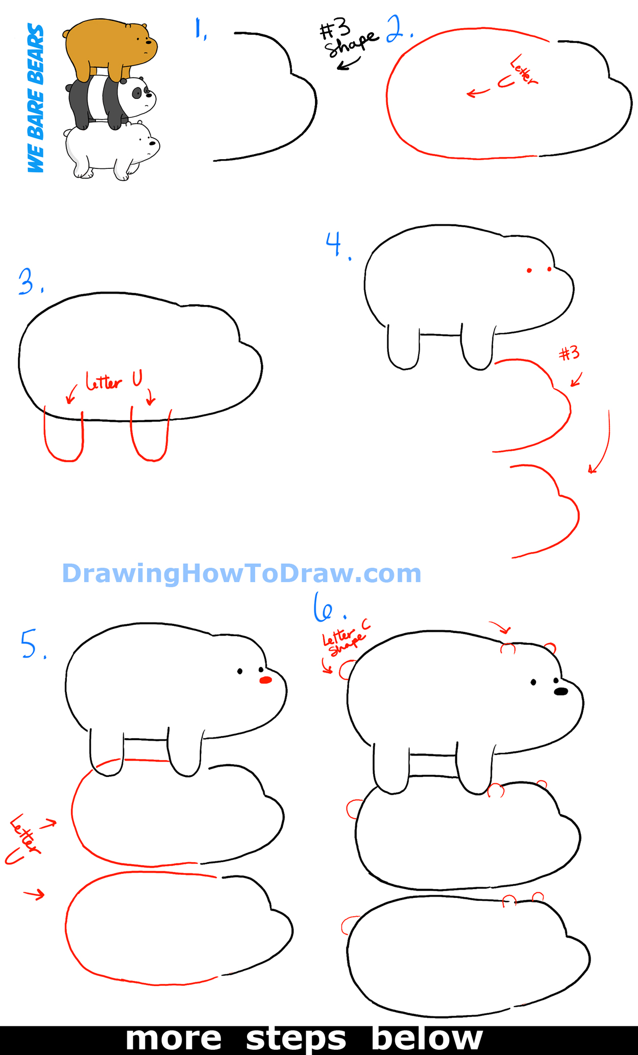 How to Draw Grizzly, Panda and Ice Bear from We Bare Bears