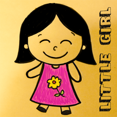 Learn How to Draw Cartoon Girls with Simple Step by Step Drawing Lesson for Children