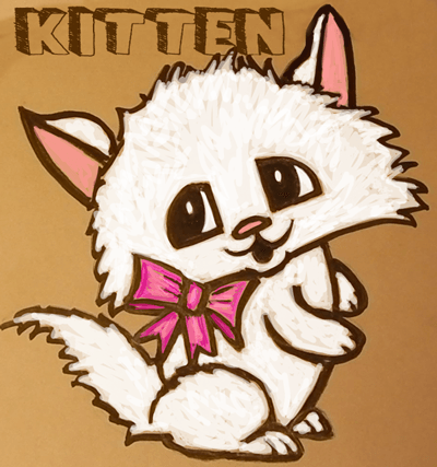 How to Draw Cute Cartoon Kitten with Pretty Bow in Easy Step by Step Drawing Tutorial