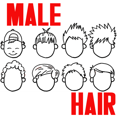 How to Draw Male Hair for Cartoon Boys and Men Step by Step Drawing Lesson