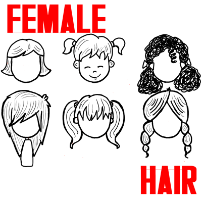 How to Draw Male Hair for Cartoon Girls and Women Step by Step Drawing Lesson