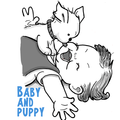 How to Draw a Cute Baby and Puppy Licking His Face Drawing