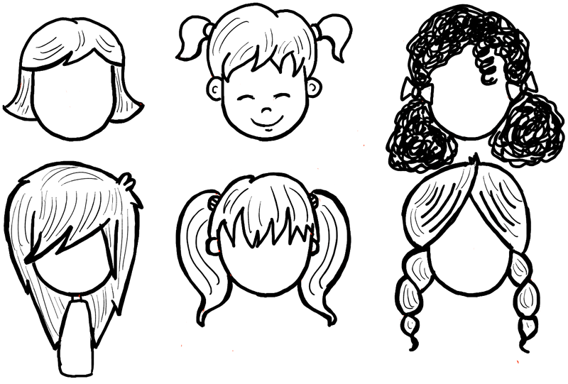 Finished Drawing Of Cartoon Girls Hair