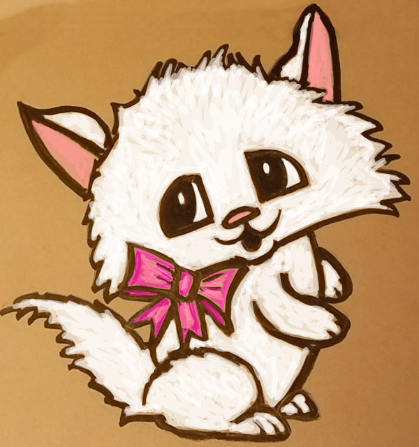 How to Draw Cute Cartoon Kitten with Pretty Bow in Easy ...