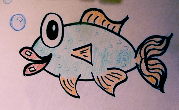 Finished Drawing of Cartoon Fish
