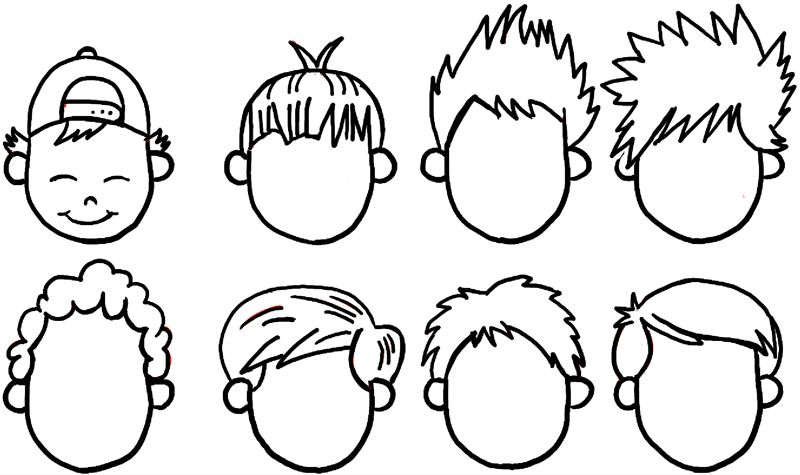 Finished drawing of boys hair