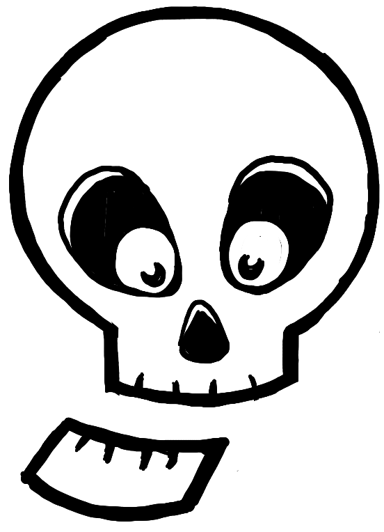 finished drawing of silly cartoon skull with mouth open - Cartoon Drawings Of Kids