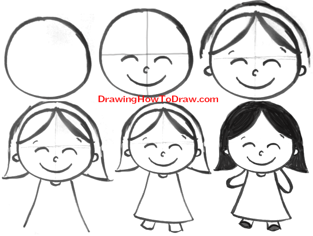 How to draw cartoon girls with easy steps tutorial for for How to draw a little girl easy