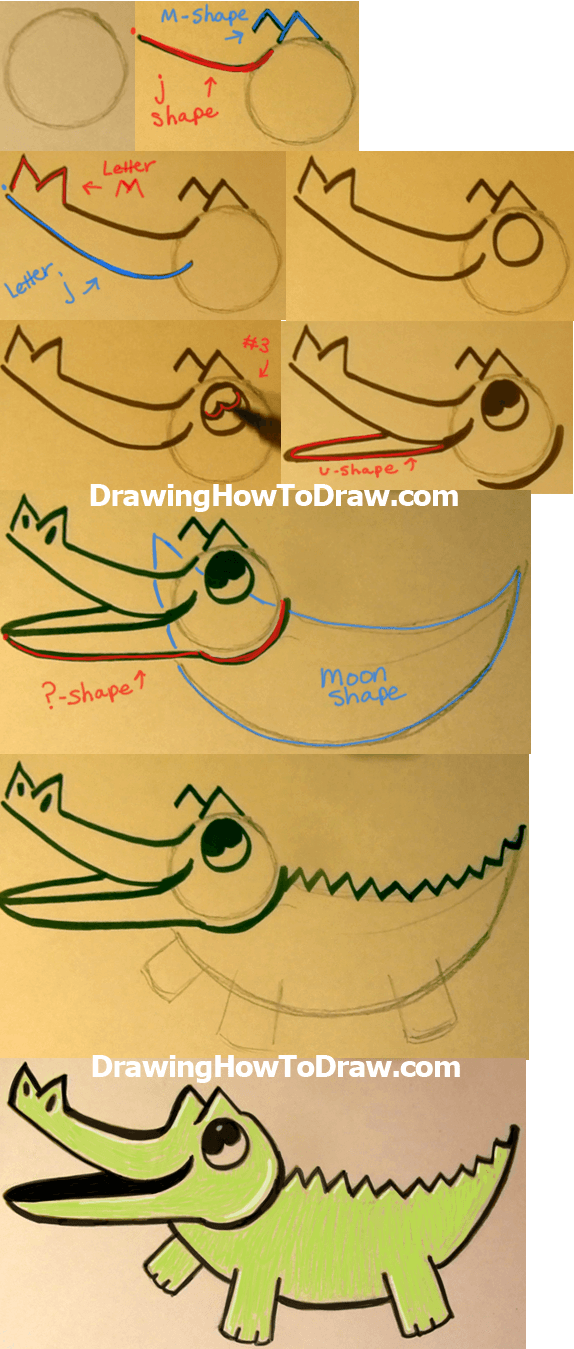 How to Draw Cartoon Baby Crocodiles and Alligators Simple Drawing Lesson for Children