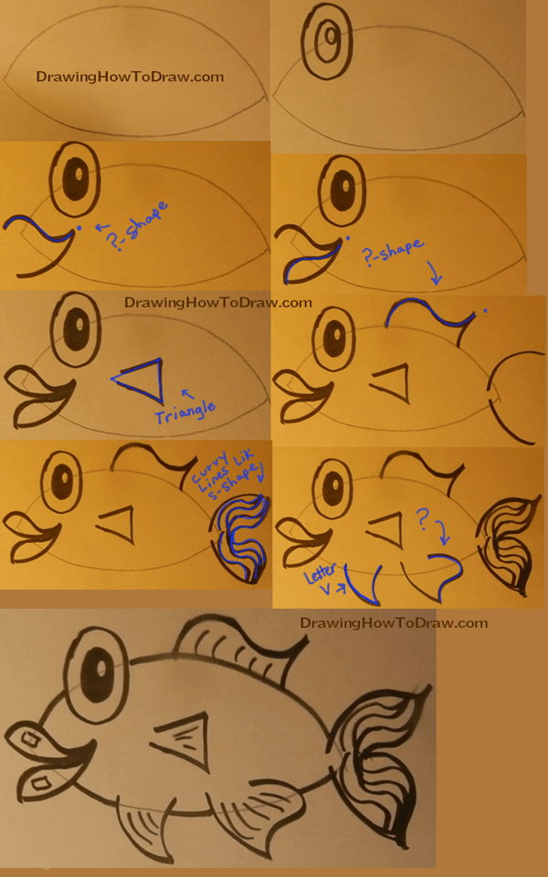 Step by Step Instructions for Drawing a Cartoon Fish