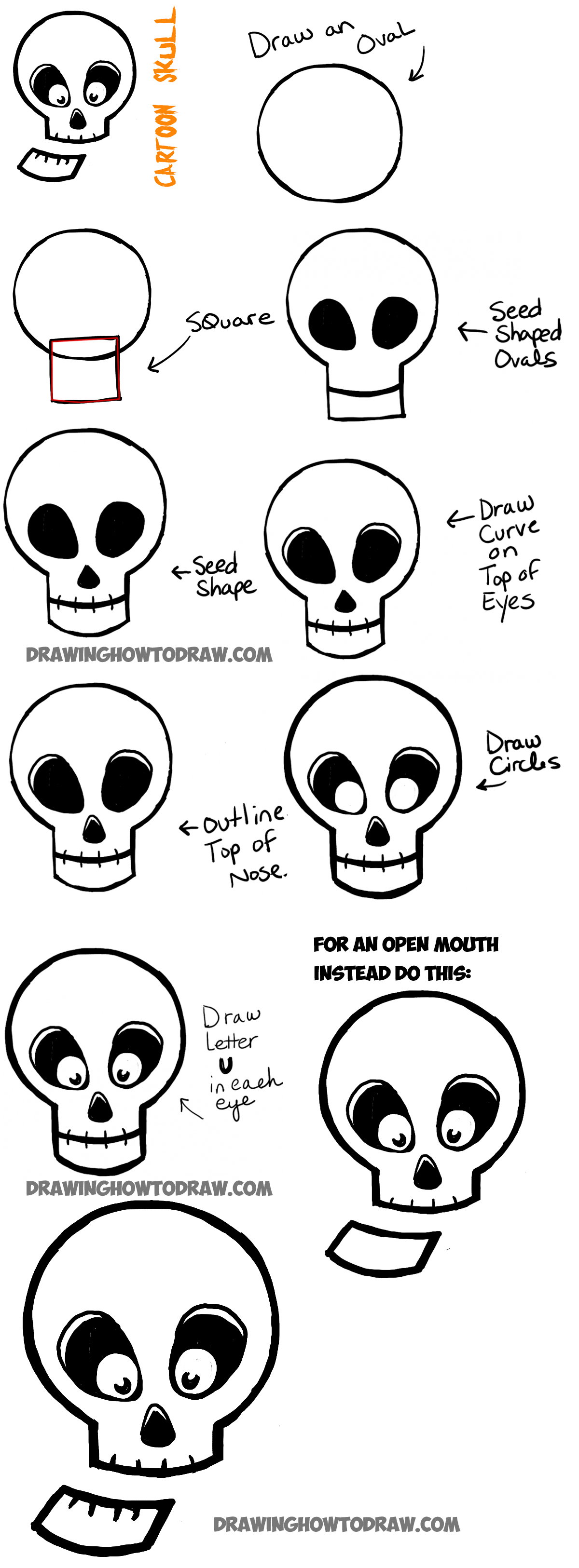 how to draw cartoon skulls for halloween