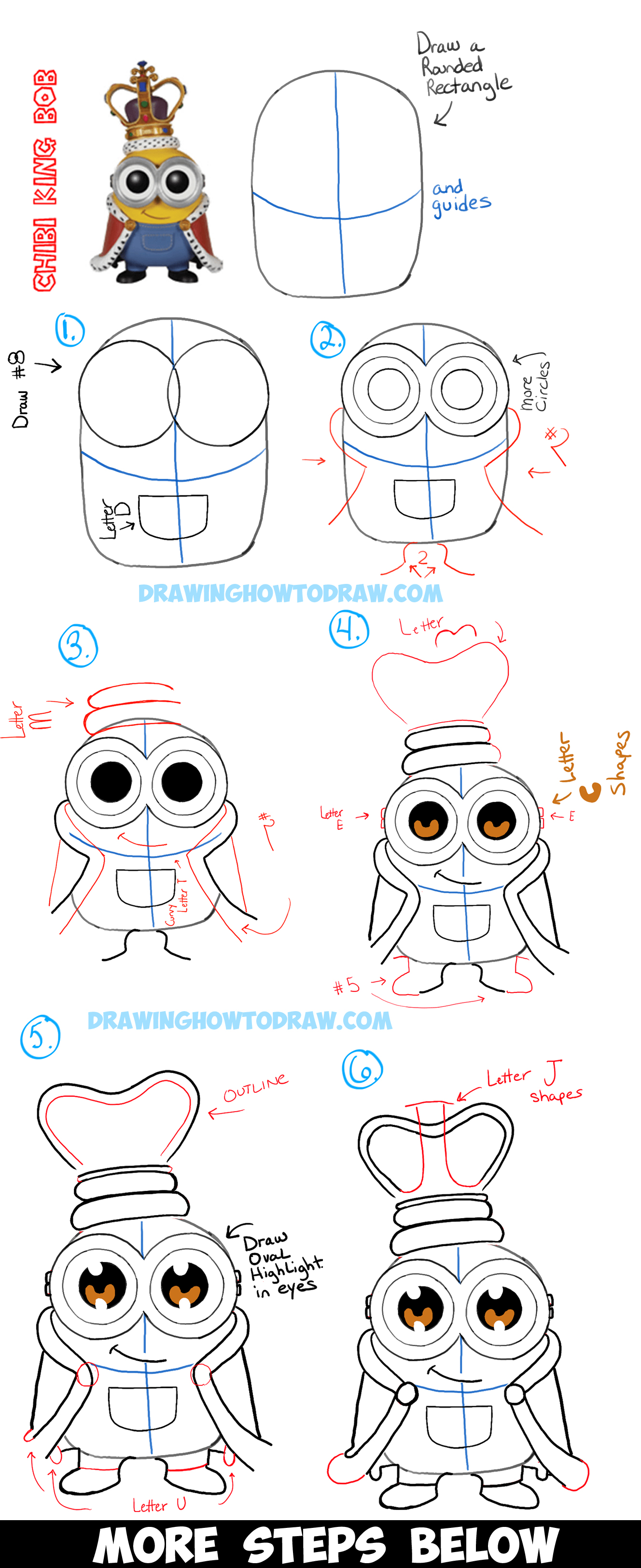 Show me how to draw a minion - How To Draw Cute Chibi King Bob From The Minions Movie With Easy Tutorial