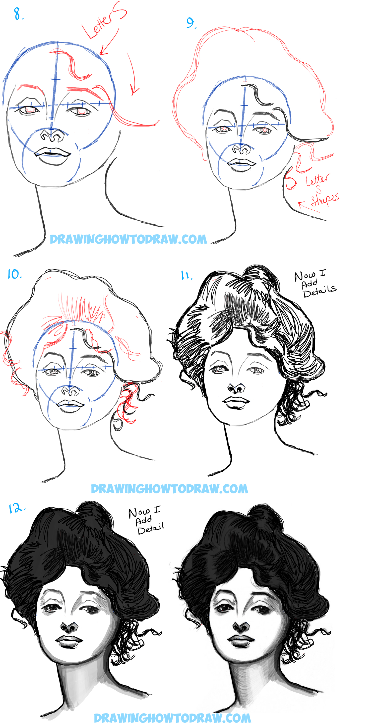How to Draw Female Faces with a Beautiful Woman's Portrait Tutorial