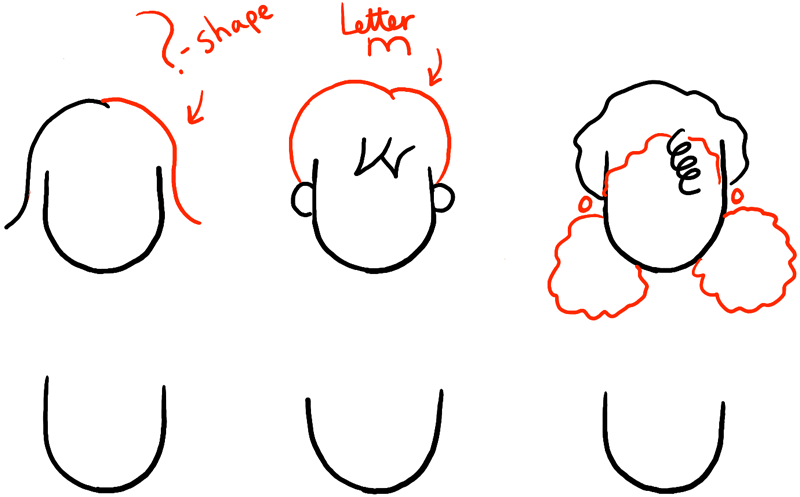 How To Draw Girls Hair Styles For Cartoon Characters Drawing