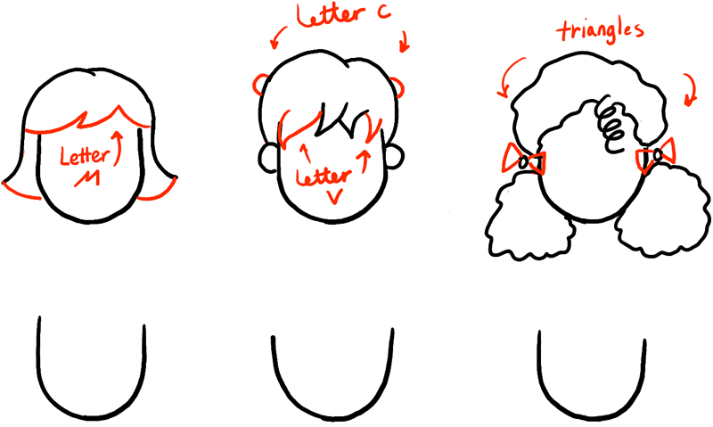 how to draw female hairstyles step by step