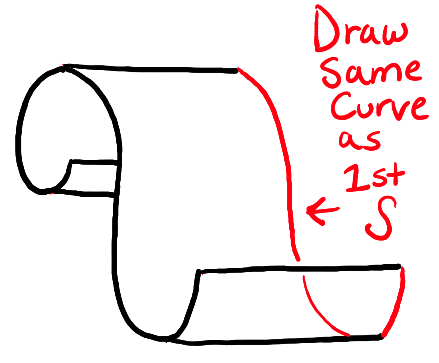 how to draw paper curls or curled paper scrolls or banners