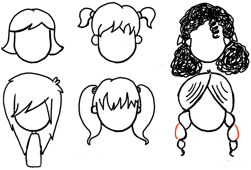 How to draw girls hair styles for cartoon characters for How to draw a little girl easy