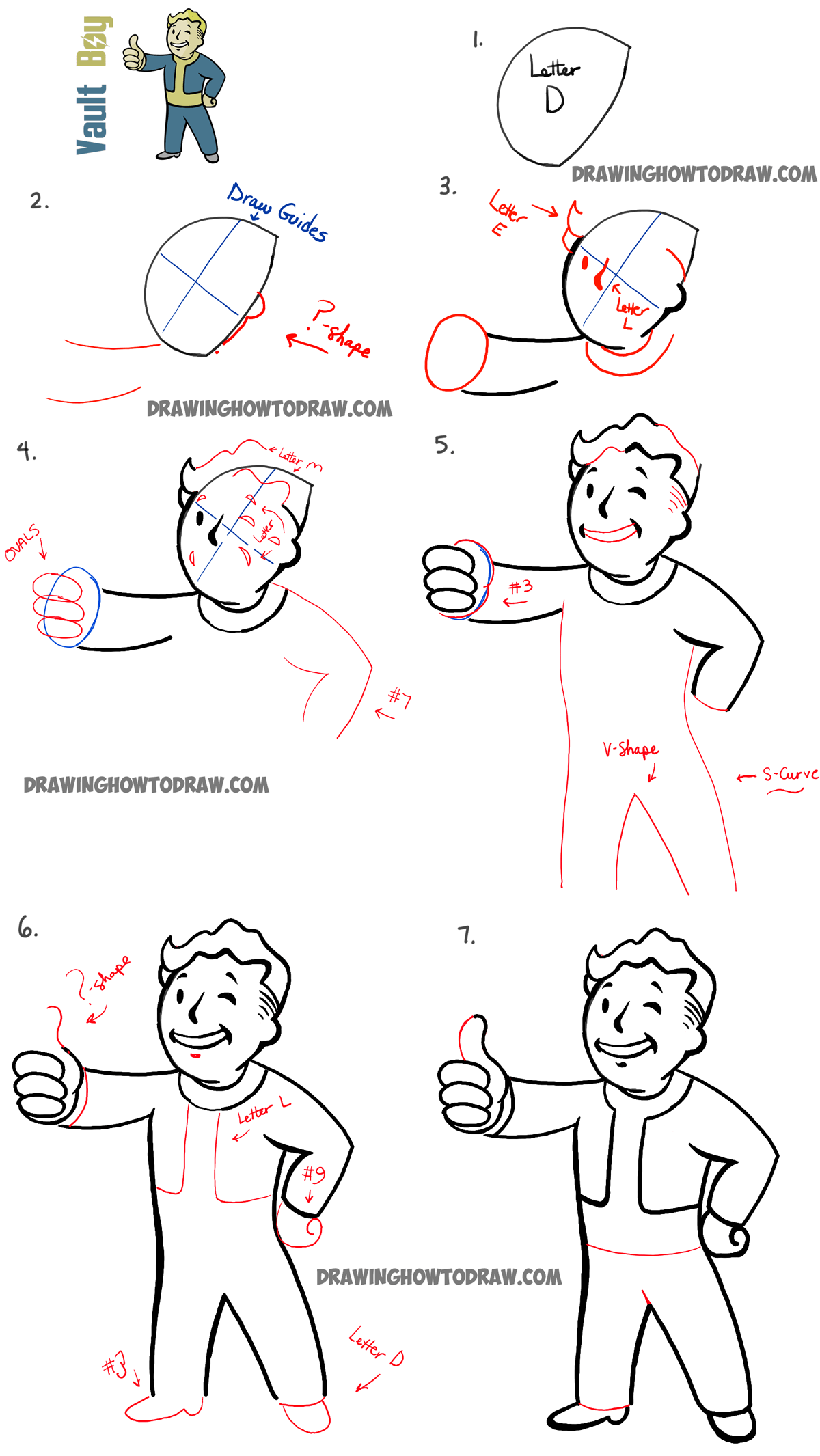How to Draw Fallout Vault Boy with Easy Step by Step ...